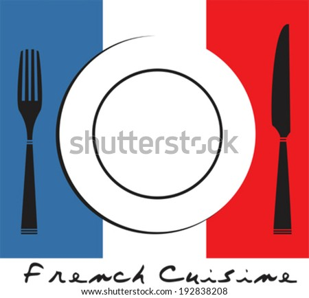 Cutlery, plate and french flag - stock vector