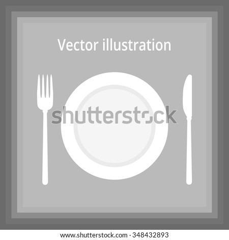 Cutlery - plate, fork and knife. vector illustration with title
