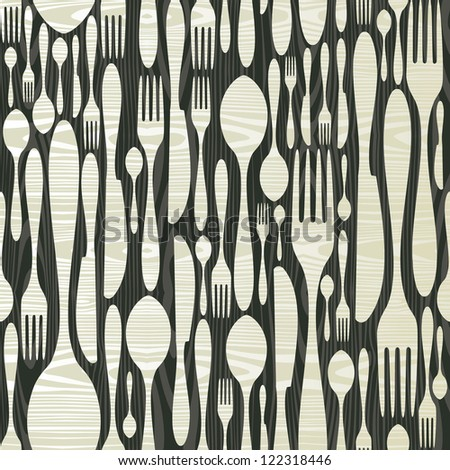 Cutlery seamless pattern icons in black over wood texture. Vector illustration layered for easy manipulation and custom coloring.