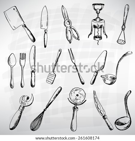 Cutlery set black. Sketch converted to vectors.