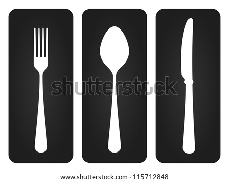 Cutlery Set in Black - Basic set of tableware silhouettes on dark background - stock vector