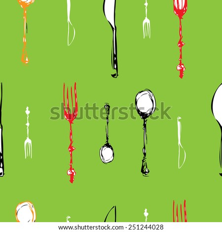 cutlery set . knife , fork, spoon. vector. seamless pattern 2 - stock vector