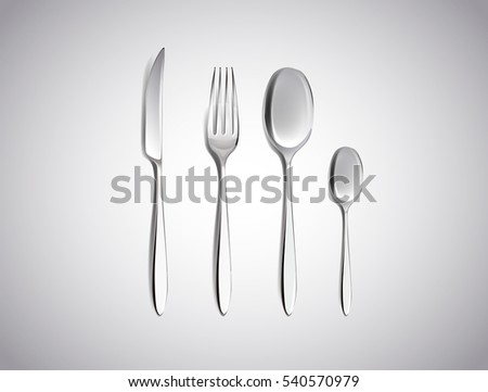 Cutlery Set of Silver Forks Spoons and Knifes Top View Isolated on White Background. Table & Cutlery Set Silver Forks Spoons Knifes Stock Vector 540570979 ...