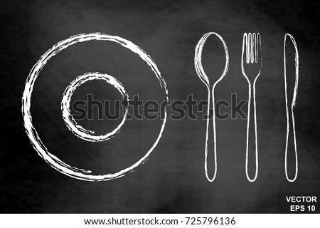 cutlery spoon fork knife on chalkboard stock vector