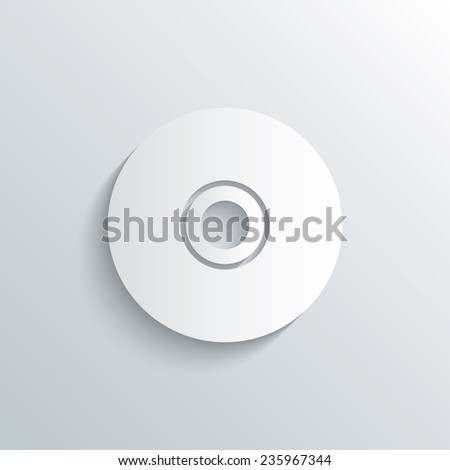 Cutout paper background. CD or DVD sign icon. Compact disc symbol. White poster with icon. Vector