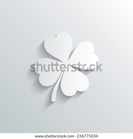 Cutout paper background. Clover with four leaves sign icon. Saint Patrick symbol. White poster with icon. Vector - stock vector