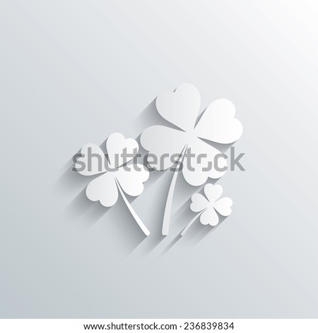 Cutout paper background. Clovers with four leaves sign icon. Saint Patrick symbol. White poster with icon. Vector - stock vector