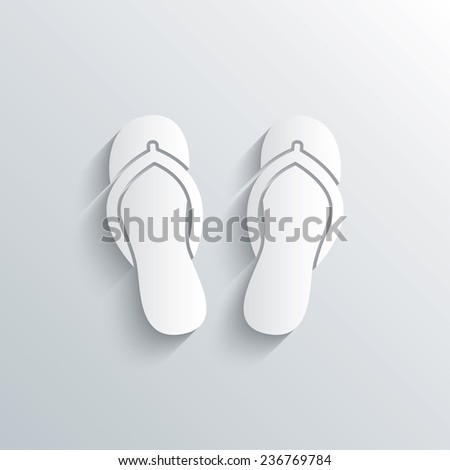 Cutout paper background. Flip-flops sign icon. Beach shoes. Sand sandals. White poster with icon. Vector - stock vector