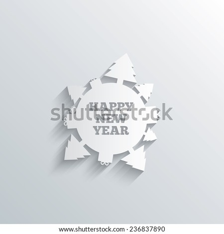 Cutout paper background. Happy new year globe sign icon. Gifts and trees symbol. Full rotation 360. White poster with icon. Vector - stock vector