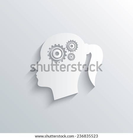 Cutout paper background. Head with gears sign icon. Female woman human head think symbol. White poster with icon. Vector