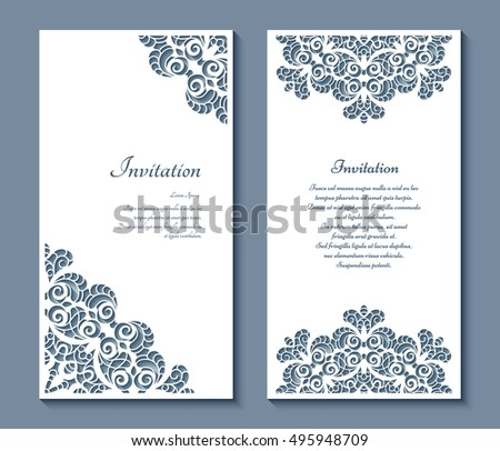 Cutout paper frames set elegant cards stock vector 495948709 cutout paper frames set of elegant cards with lace decoration wedding invitation or announcement junglespirit Gallery