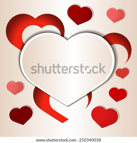 Cutout paper hearts template