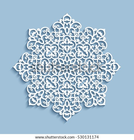 Cutout paper lace doily, snowflake decoration, mandala circle ornament, lacy round pattern, vector eps10