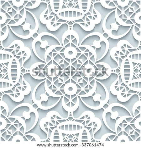 Crochet Patterns Vector : ... lace pattern, vector seamless pattern in neutral colors - stock vector