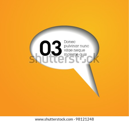 cutout speech bubble vector / modern design / orange text cloud - stock vector