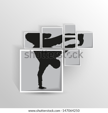 Cutted dancing silhouette in squares on wall. vector illustration - stock vector