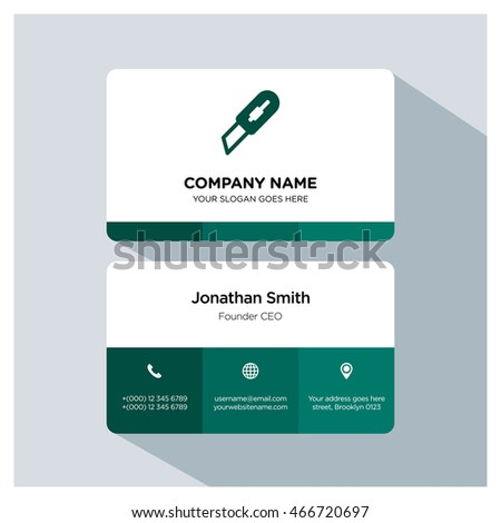 Cutter icon. Business card template