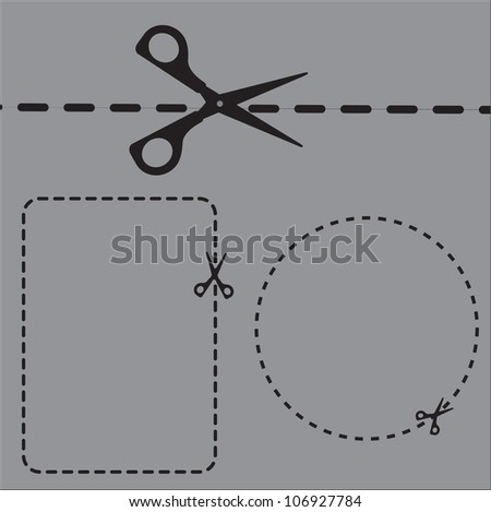 cutting areas with scissors on gray background, Vector illustration - stock vector
