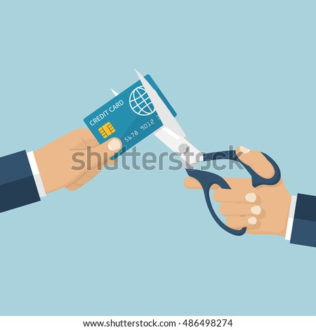Cutting credit card. Debit card account closing. Man holding scissors in hand, cutting bank card. Reduce cost. Vector illustration flat design. Isolated on background.