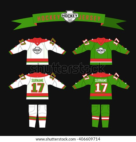 Cutting fabric for hockey form. Hockey jersey. Template design  hockey equipment. hockey sweater and socks. Form for hockey team with logo - puck and crossed sticks. Red, green and white color gamma - stock vector