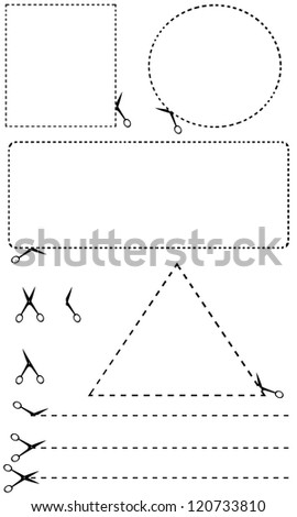 cutting line shapes isolated on white - stock vector