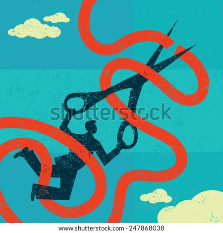 Cutting red tape A man caught in red tape is cutting through it with large scissors. The man & tape and the background are on separate labeled layers. - stock vector