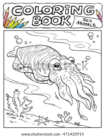 Cuttlefish - Squid - Coloring Book Pages - SEA ANIMALS COLLECTION - Page No. 1