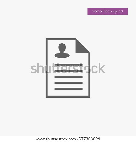 Cv Icon Simple Business Sign Vector Document Illustration  Cv Document
