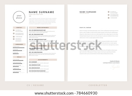 Cv Resume Cover Letter Template Elegant Stock Vector 784660930