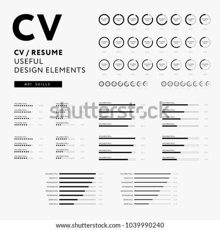 cv resume design elements set skillsのベクター画像素材 1039990240