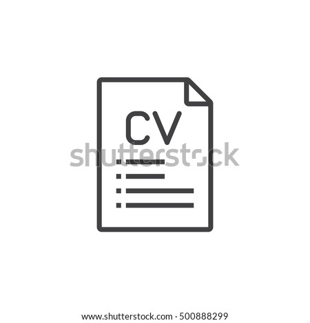 CV, Resume Line Icon, Outline Vector Sign, Linear Pictogram Isolated On  White.  Outline For A Resume