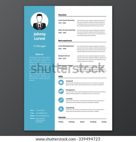 cv resume template vector graphic layout stock vector 339494723