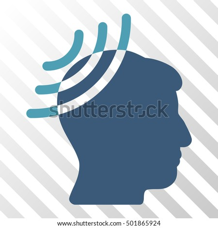 Cyan And Blue Radio Reception Head toolbar pictogram. Vector pictograph style is a flat bicolor symbol on diagonal hatch transparent background.
