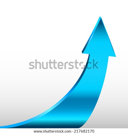 Cyan arrow and white background - stock vector