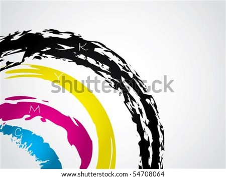 Cyan magenta yellow and black splatter background - stock vector