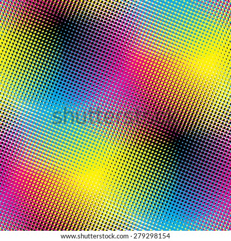 Cyan Magenta Yellow Black Halftone background - stock vector