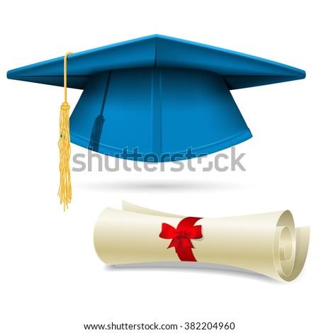 Cyan mortarboard and diploma - graduation cap - stock vector