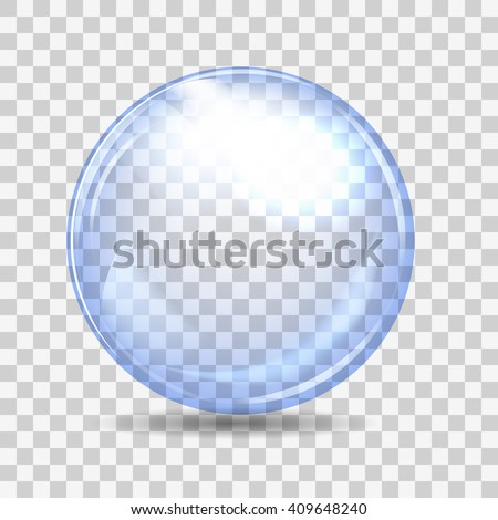 Cyan transparent glass sphere with glares and shadow. Vector illustration - stock vector