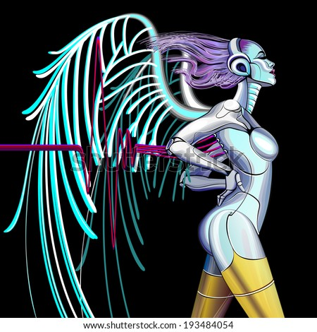 Cyber angel. Cyborg woman and music. - stock vector