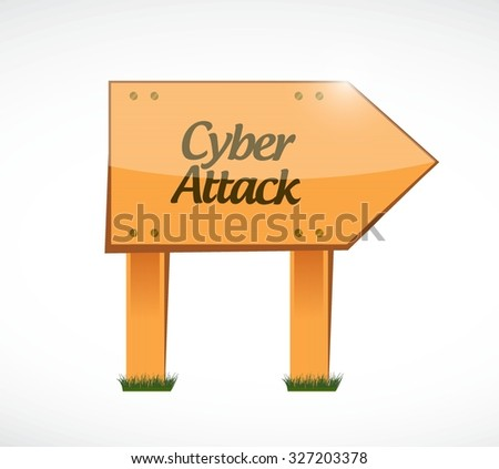 cyber attack wood sign concept illustration design graphic