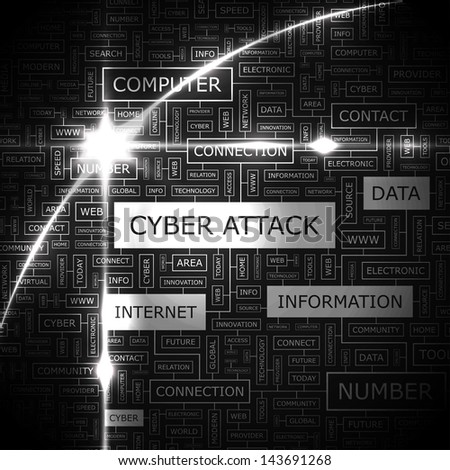 CYBER ATTACK. Word cloud concept illustration.  - stock vector