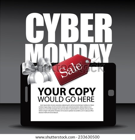 Cyber Monday Ad layout with smartphone bow and tag EPS 10 vector stock illustration - stock vector