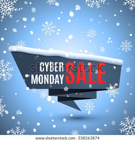 Cyber monday sale background with ribbon banner and snow.  - stock vector