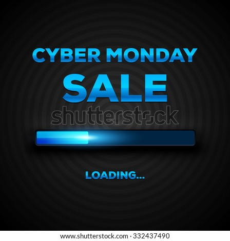 Cyber Monday Sale Loading Bar Background. Design Template for eCommerce Business Website / Presentation. Vector Illustration . - stock vector