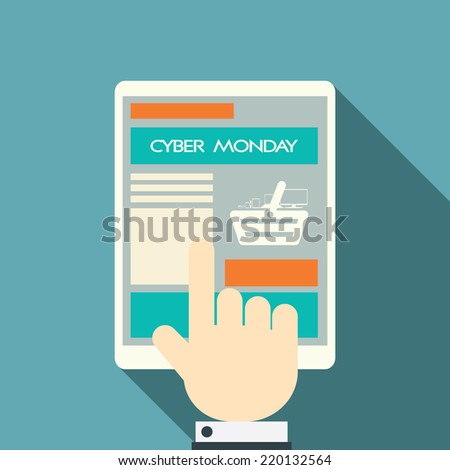 Cyber Monday sales symbols on various devices. Eps10 vector illustration.
