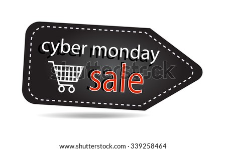 Cyber monday sales tag isolated over white background - stock vector