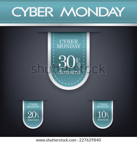Cyber monday sales web elements with banners and discounts. Eps10 vector illustration. - stock vector