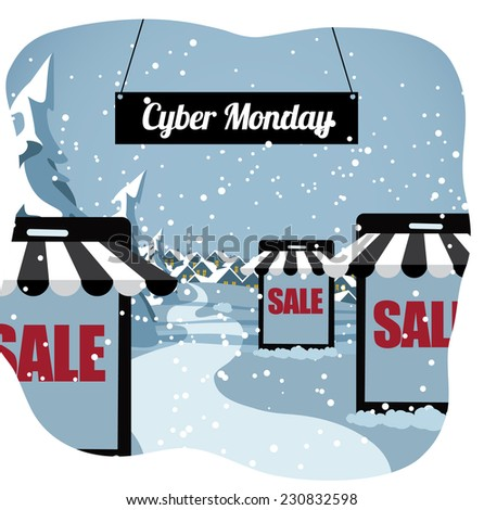 Cyber Monday smartphone shopping village EPS 10 vector illustration - stock vector