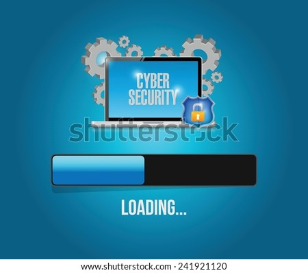 cyber security computer technology update. illustration design over a blue background - stock vector