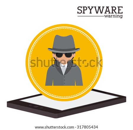 Cyber security concept about warning icon design, vector illustration eps 10 - stock vector